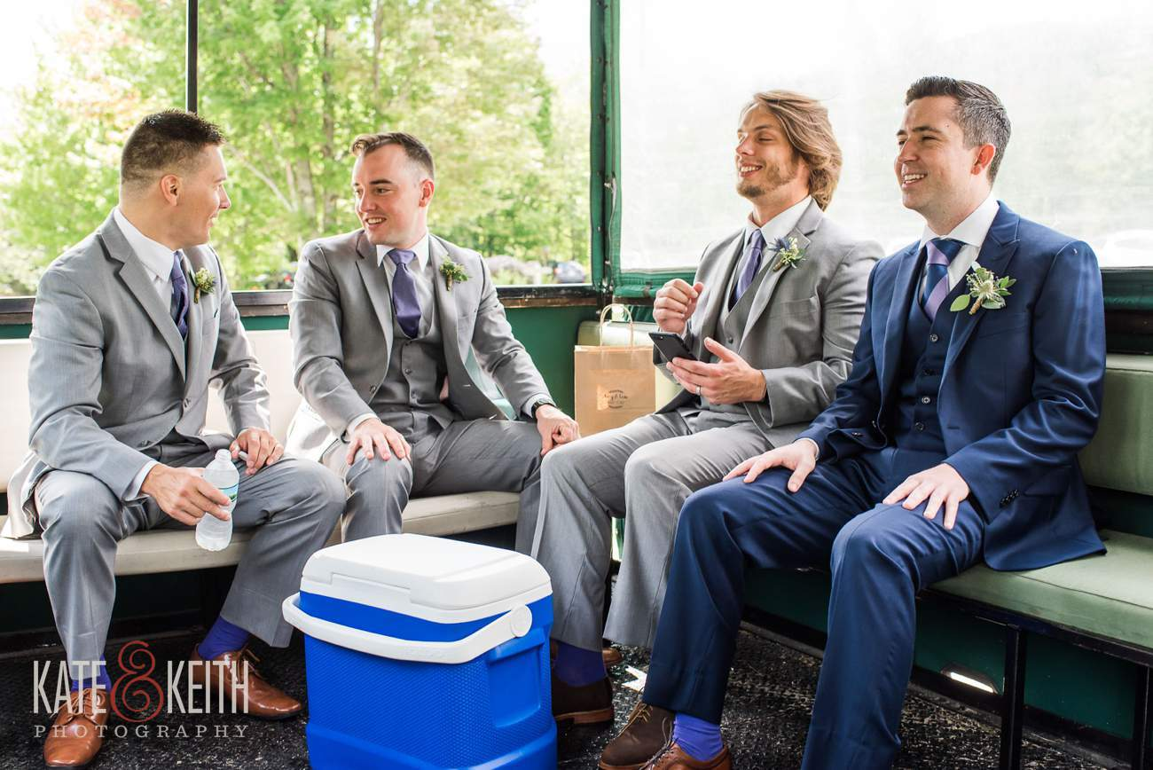 Groomsmen riding trolley at Waterville Valley Resort