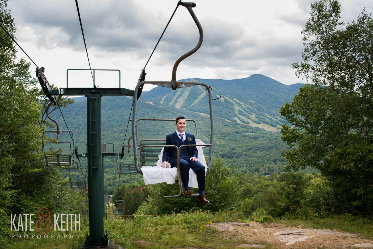 Groom on chairlift Waterville Valley Resort Wedding