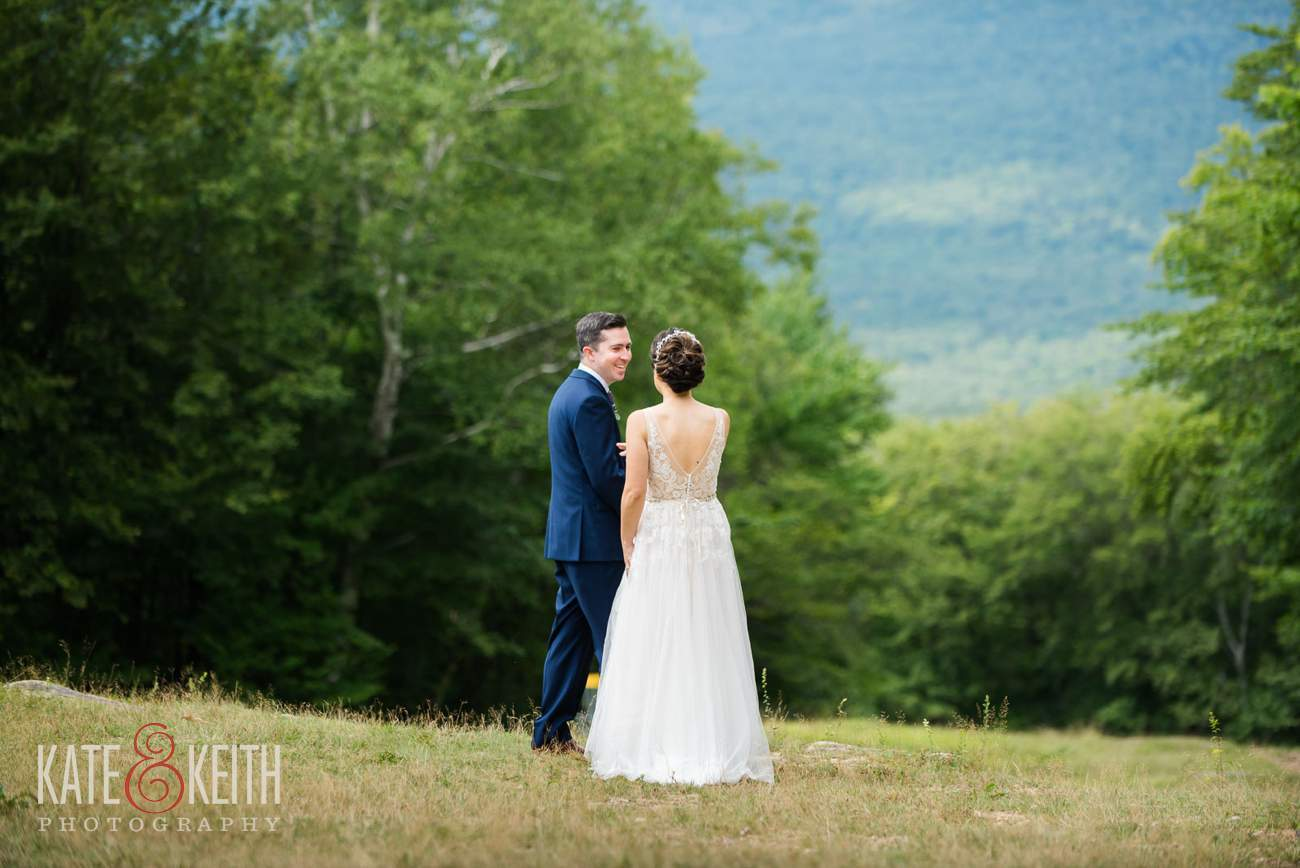 Bride and groom first look at Waterville Valley Resort wedding