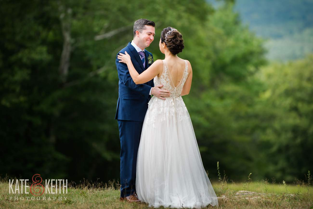 Emotional groom first look at Waterville Valley Resort wedding