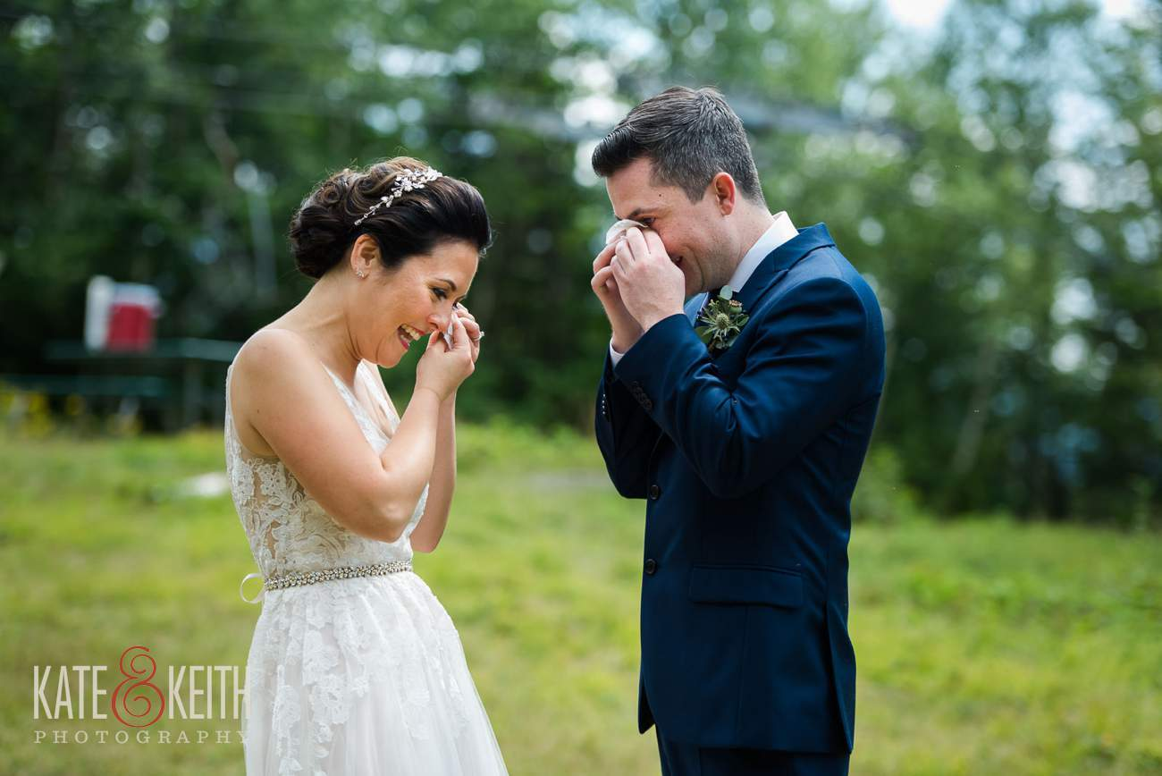 Emotional bride and groom first look at Waterville Valley Resort wedding