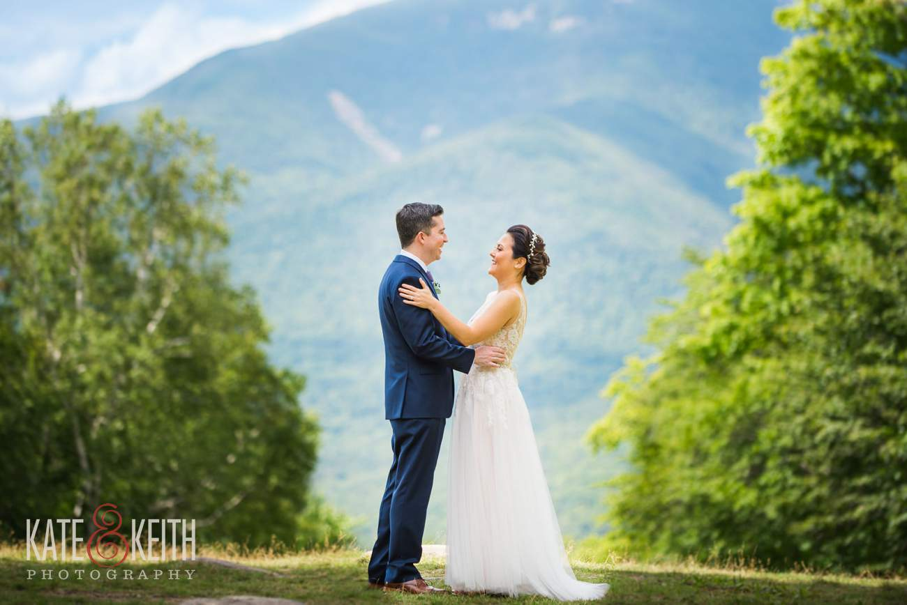 Bride and groom portrait Waterville Valley Resort wedding
