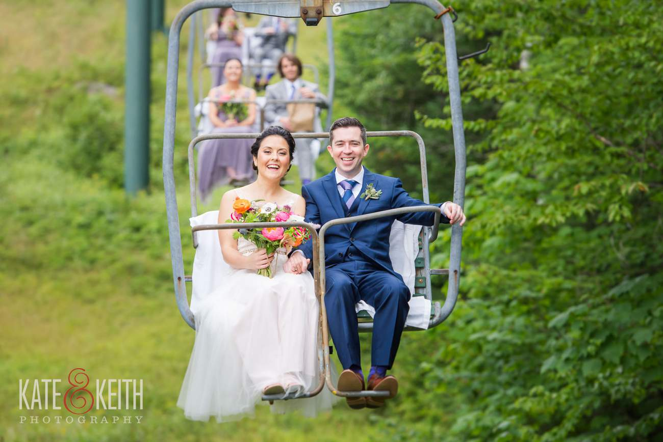 Bride and groom on chairlift at Waterville Valley Resort wedding photographer