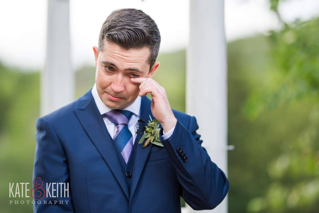 emotional groom wedding ceremony Waterville Valley New Hampshire wedding