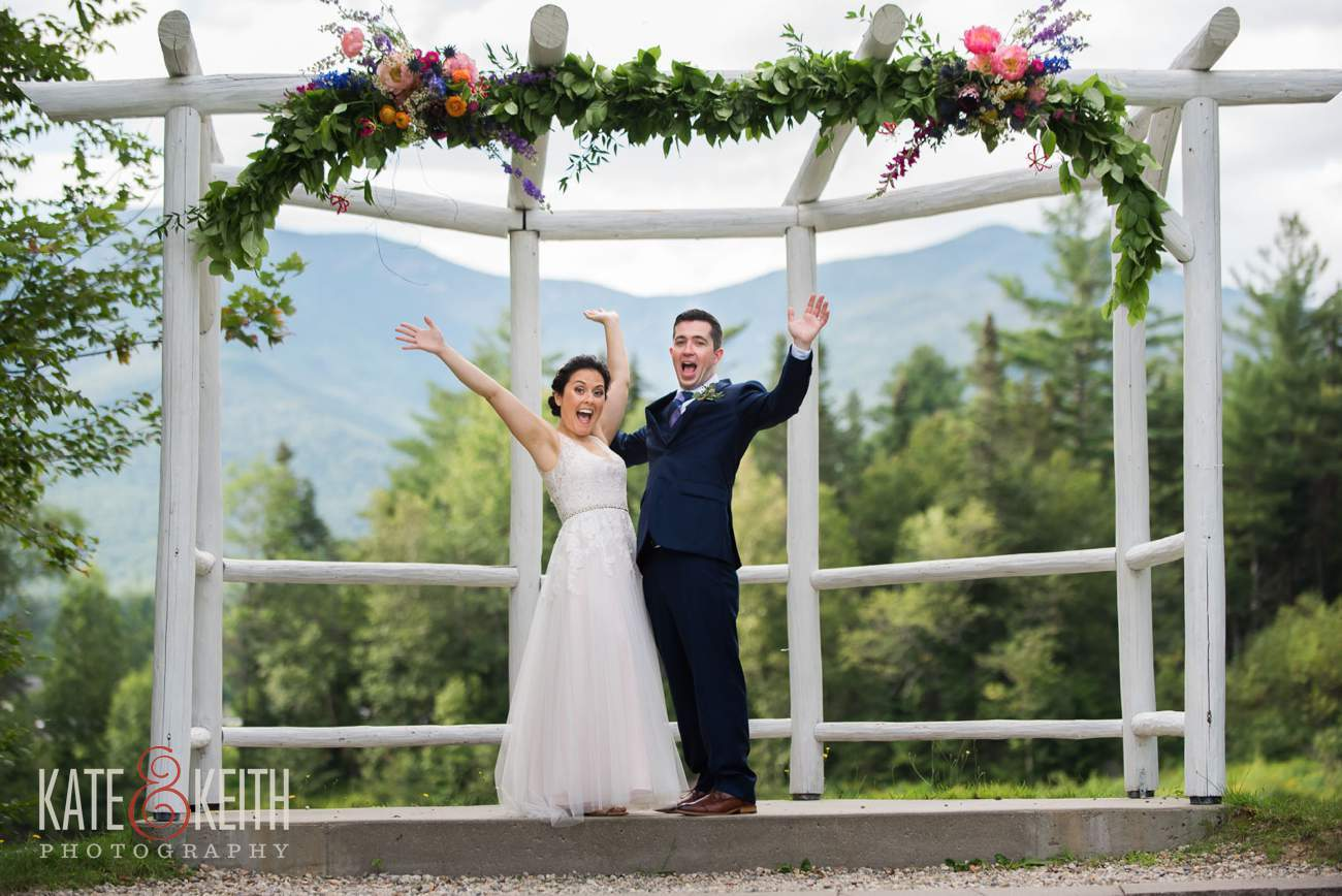 Waterville Valley Resort wedding outdoor ceremony location Osceola Arbor portraits