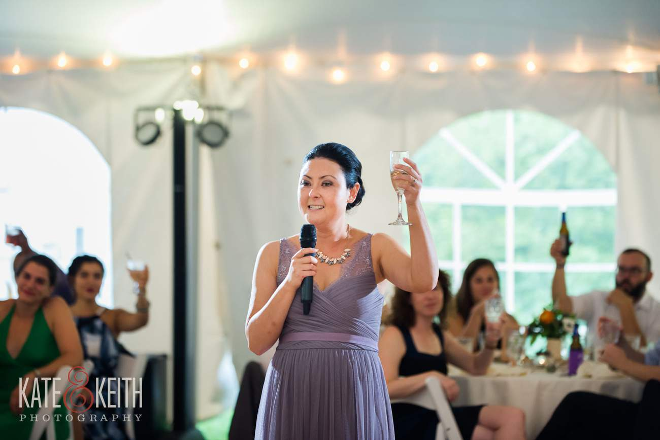 Wedding toast in tent at Waterville Valley Resort