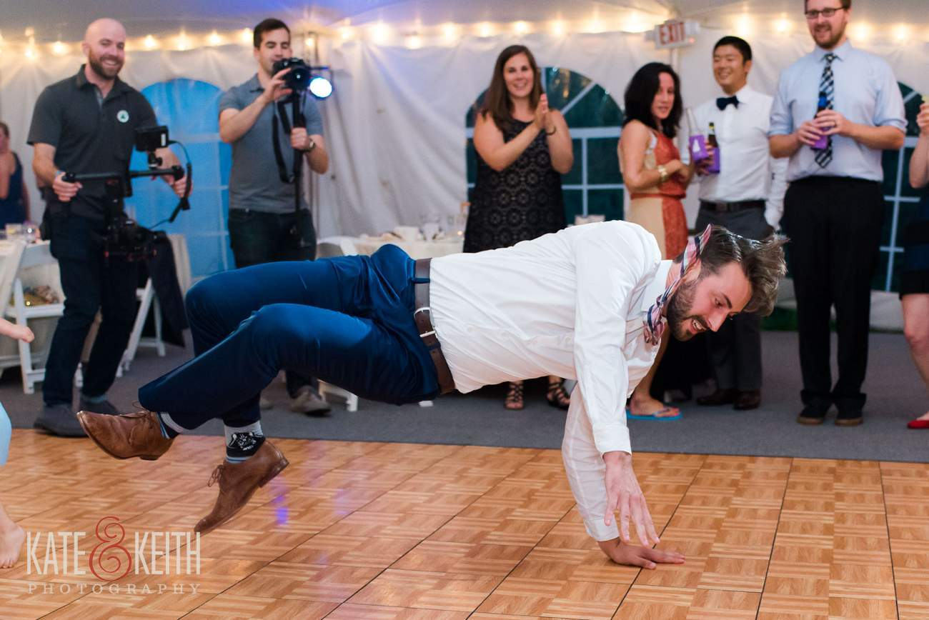 Breakdancing wedding reception photos