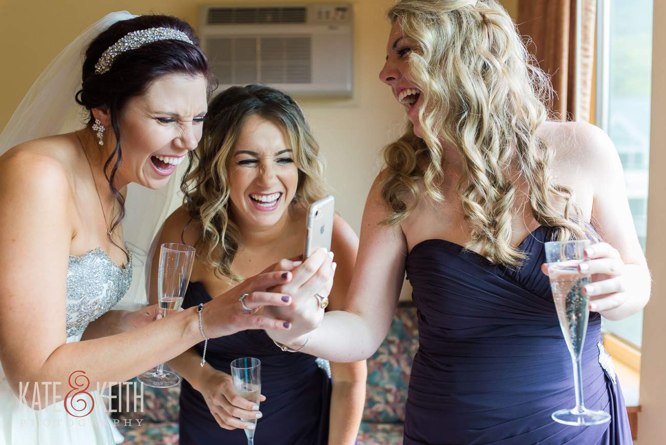 Candid storytelling wedding photography bride with bridesmaids