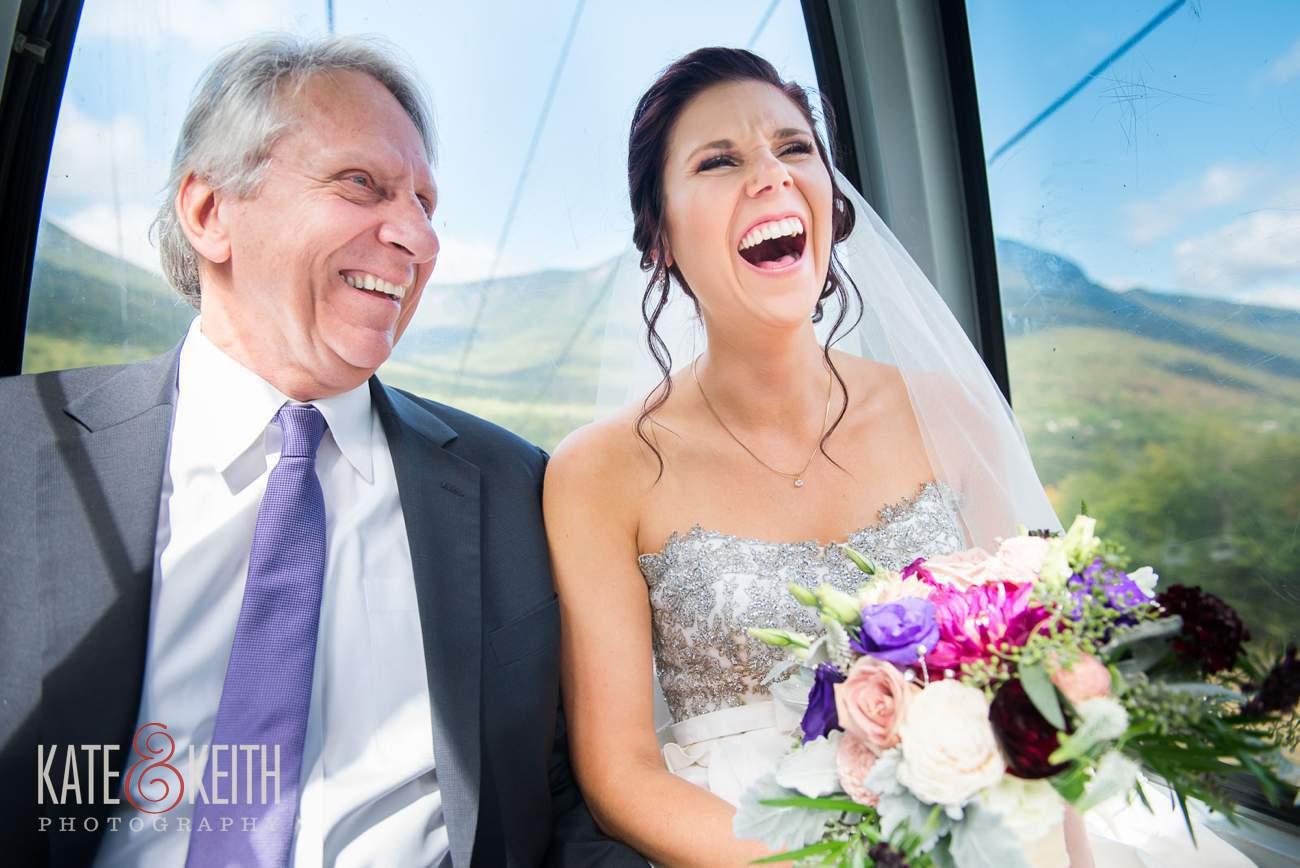 Bride in gondola Loon Mountain