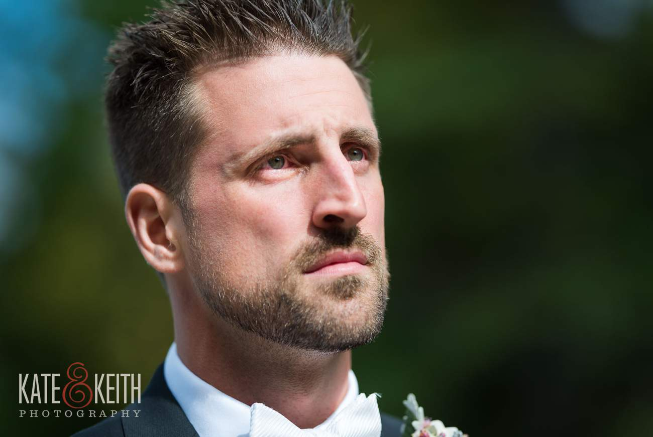 Emotional groom sees bride for first time