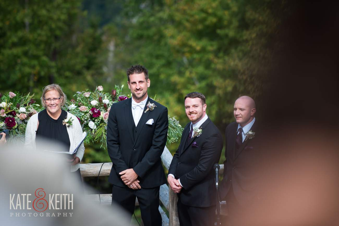 Groom sees bride first time white mountains