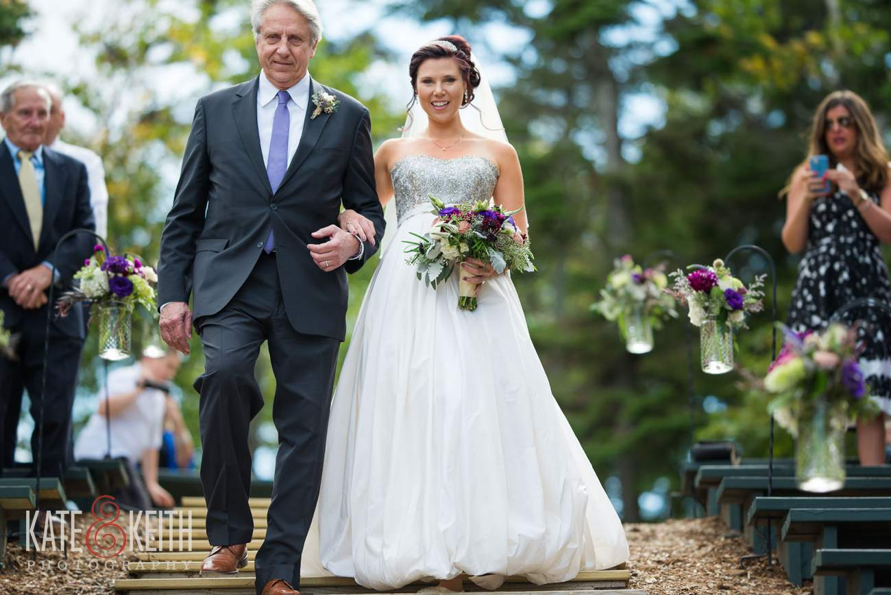 Father walks bride down aisle Loon Mountain wedding ceremony