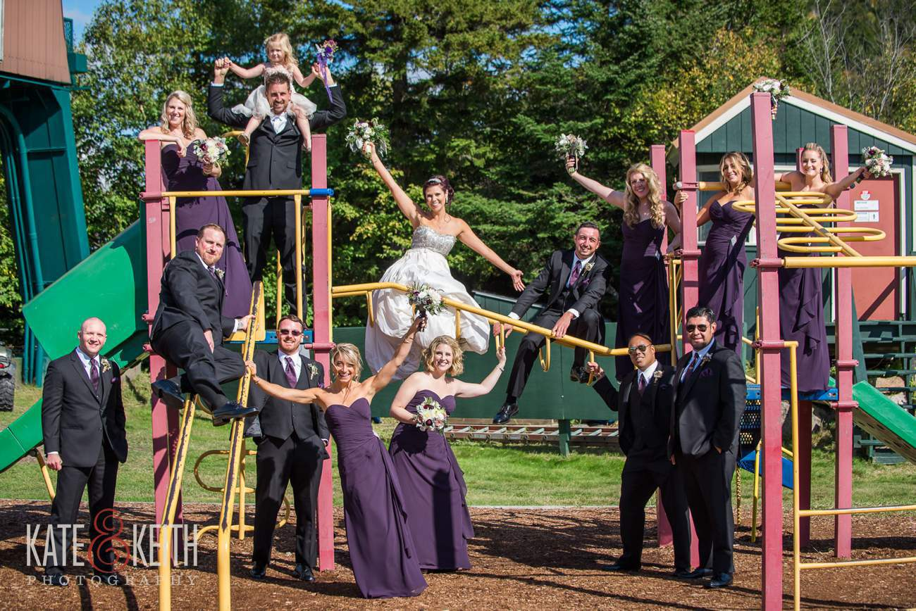 Fun wedding formal photos on playground