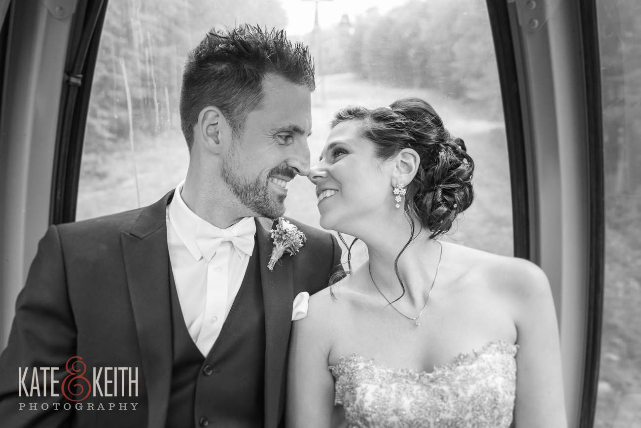 Bride and groom on gondola Loon Mountain