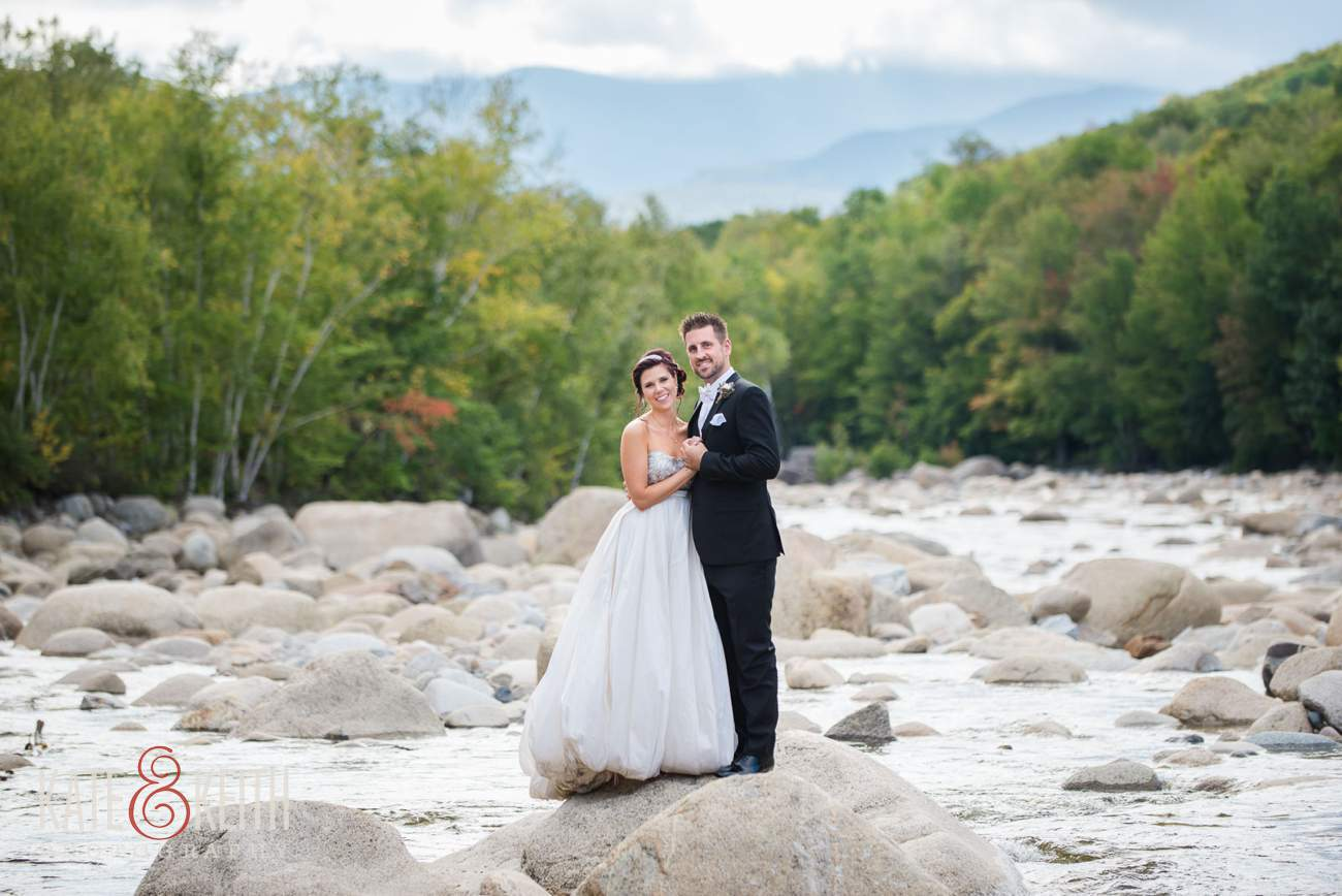 Adventure bride and groom formal photos on river
