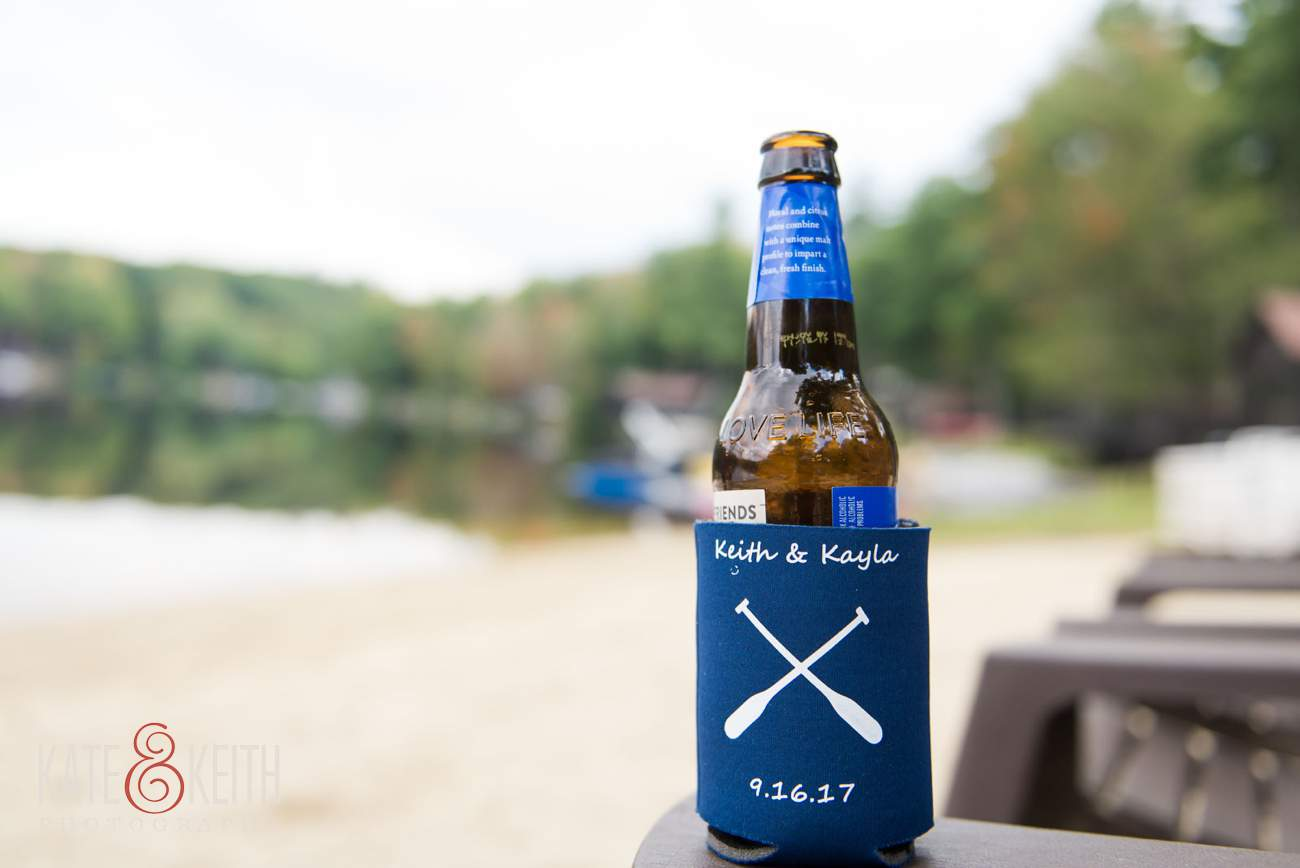 Custom beer koozie wedding favor