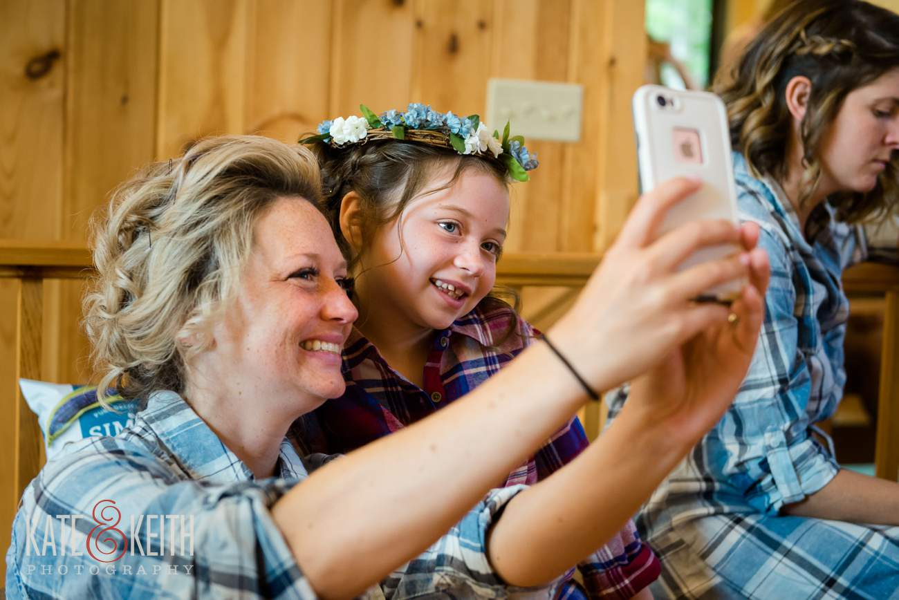 Flower girl taking selfie