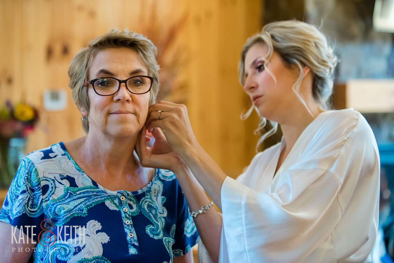 Bride earrings mom