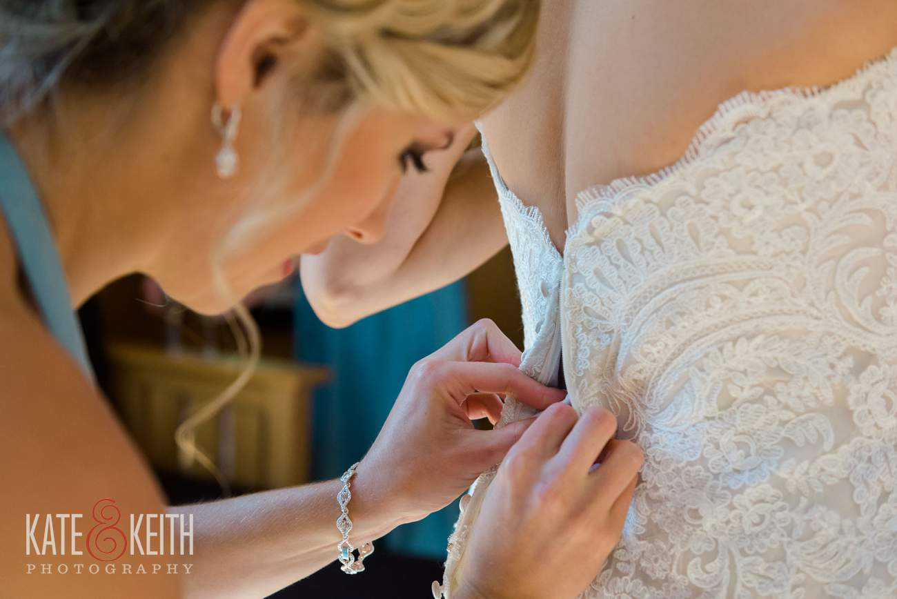 low back wedding dress closeup