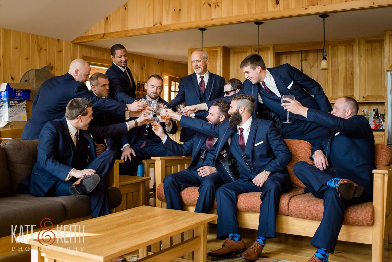 Groomsmen toast Lake Shore Village Resort wedding