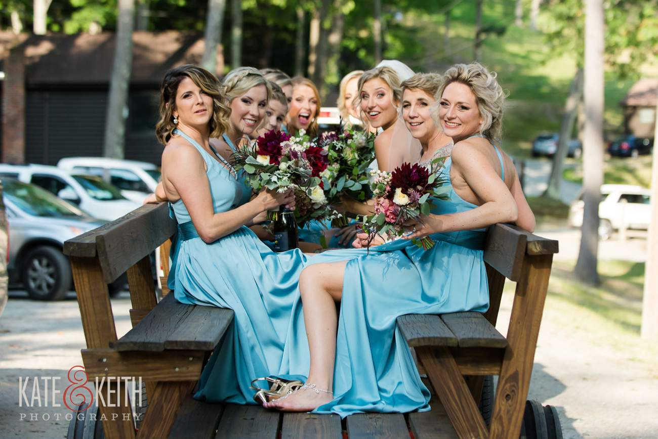 Bridal party on wagon ride