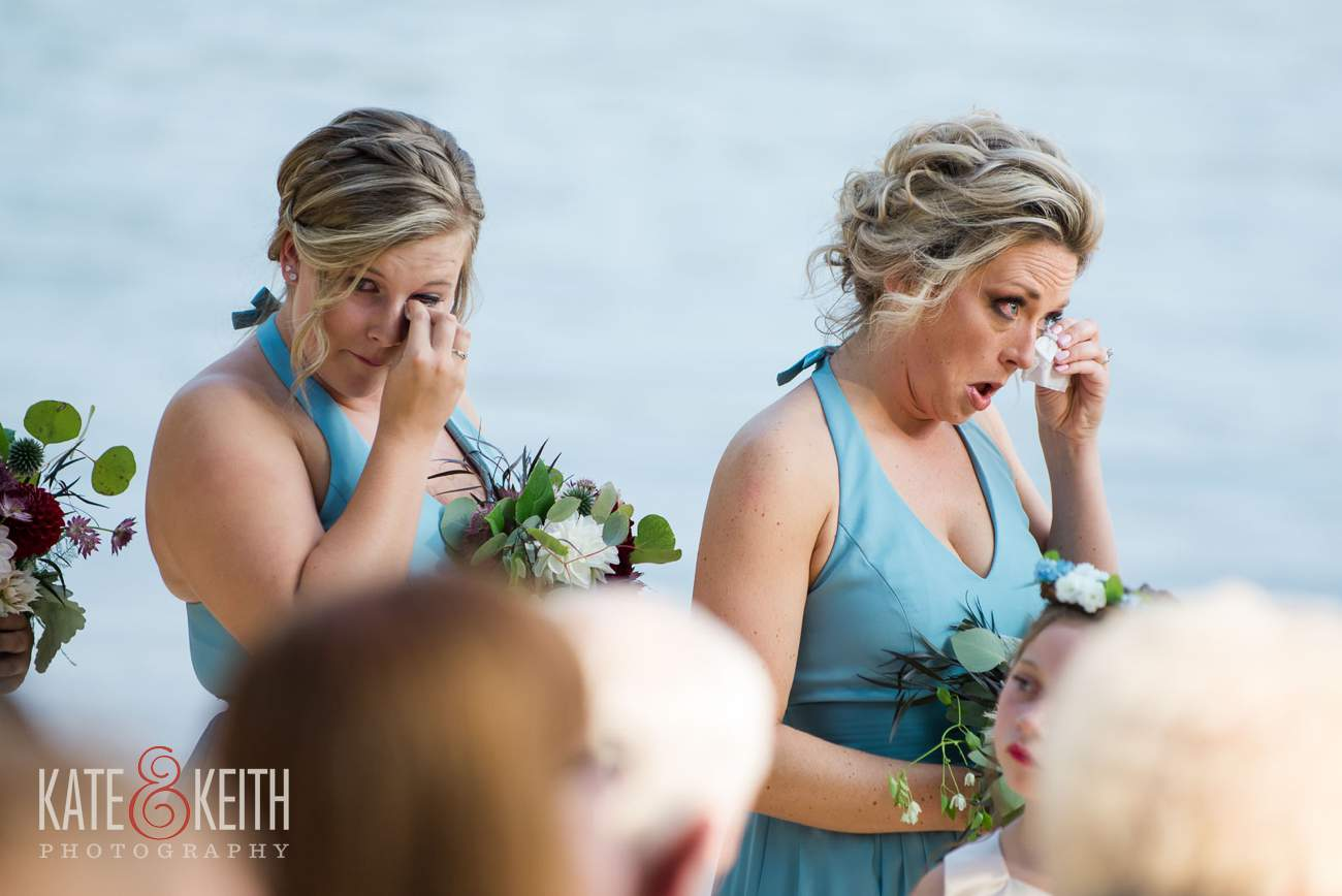 Crying emotional bridesmaids
