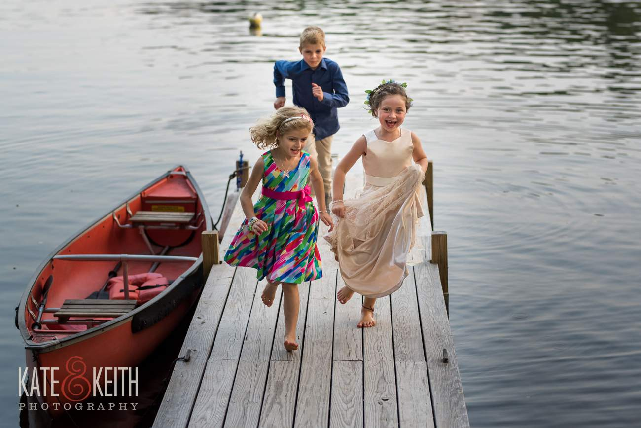 Children playing at wedding Lake Shore Village Weare NH