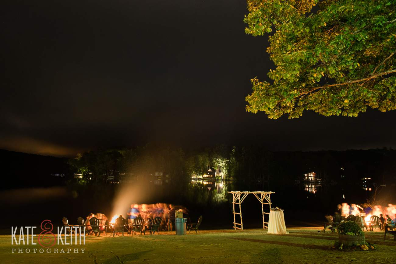 Lake shore Village Resort Wedding campfire