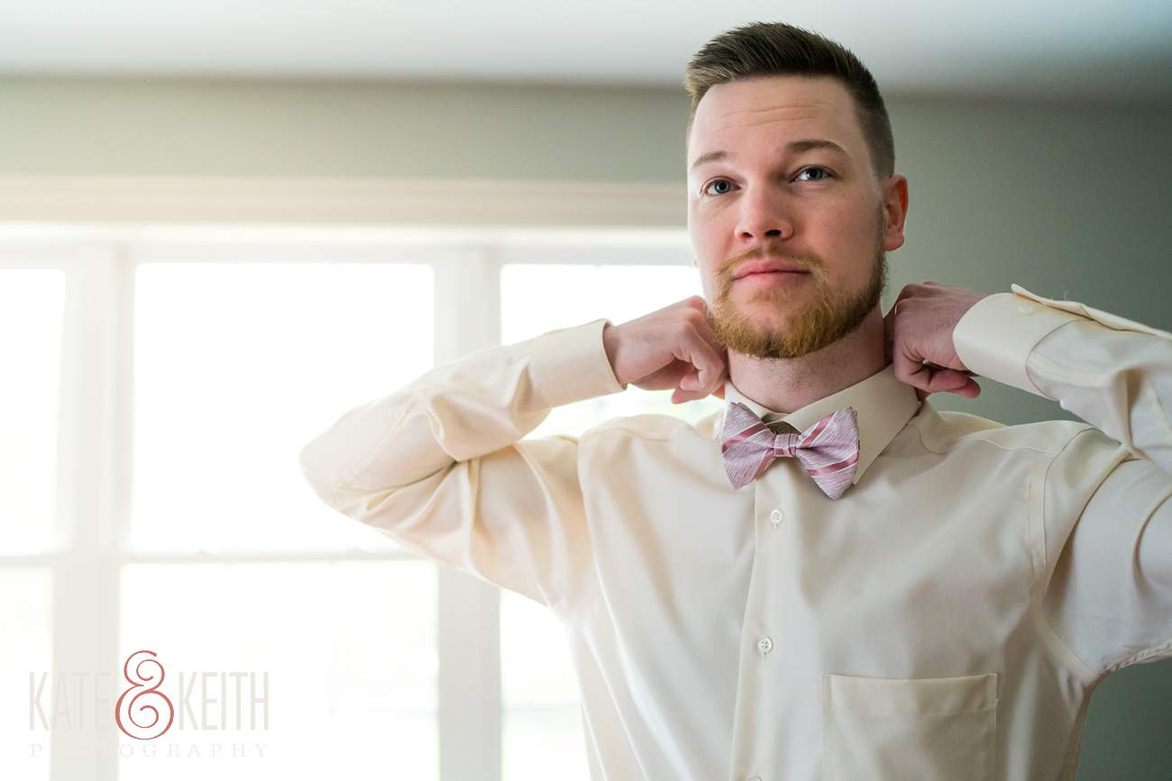 Dapper Groom getting ready