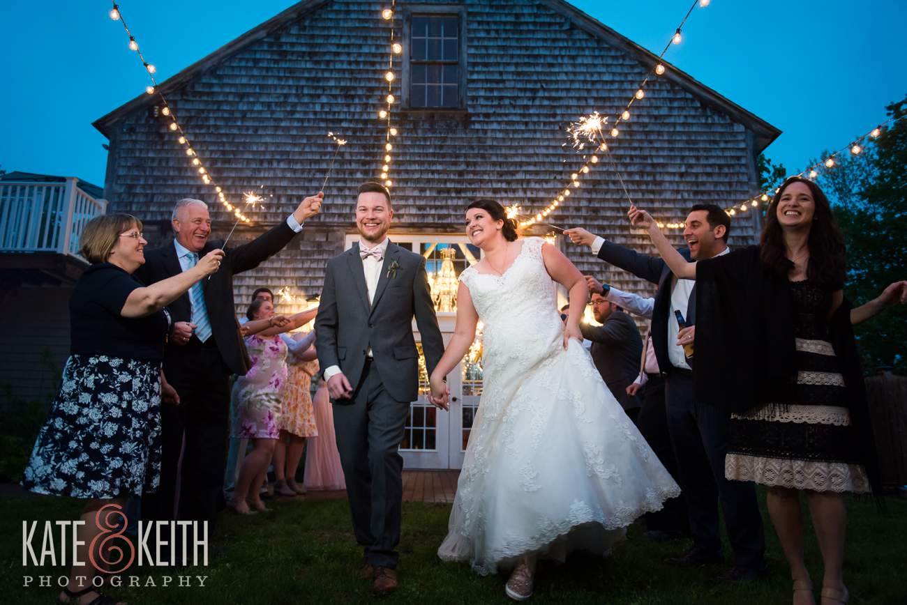 Real barn wedding sparkler exit photo