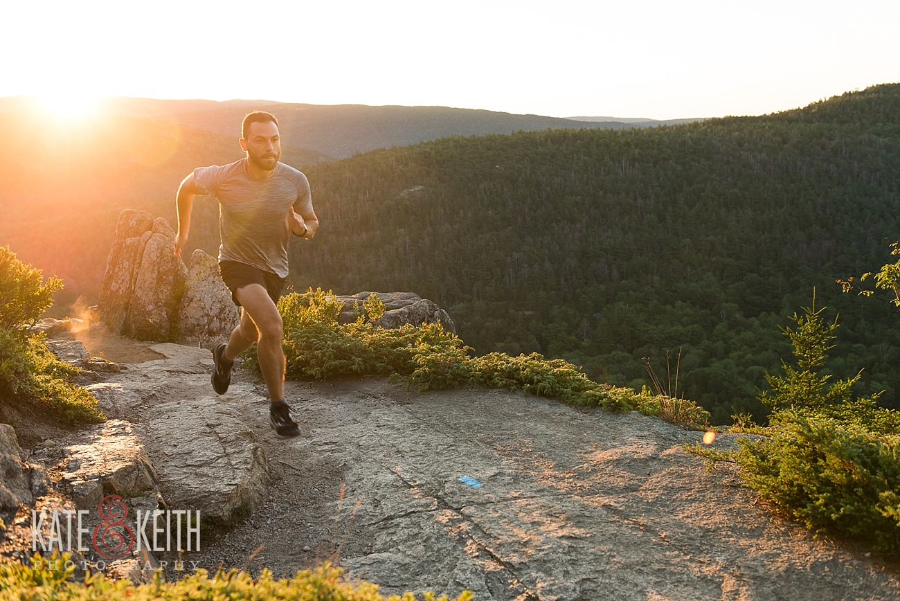 Morning trail running in Acadia National Park
