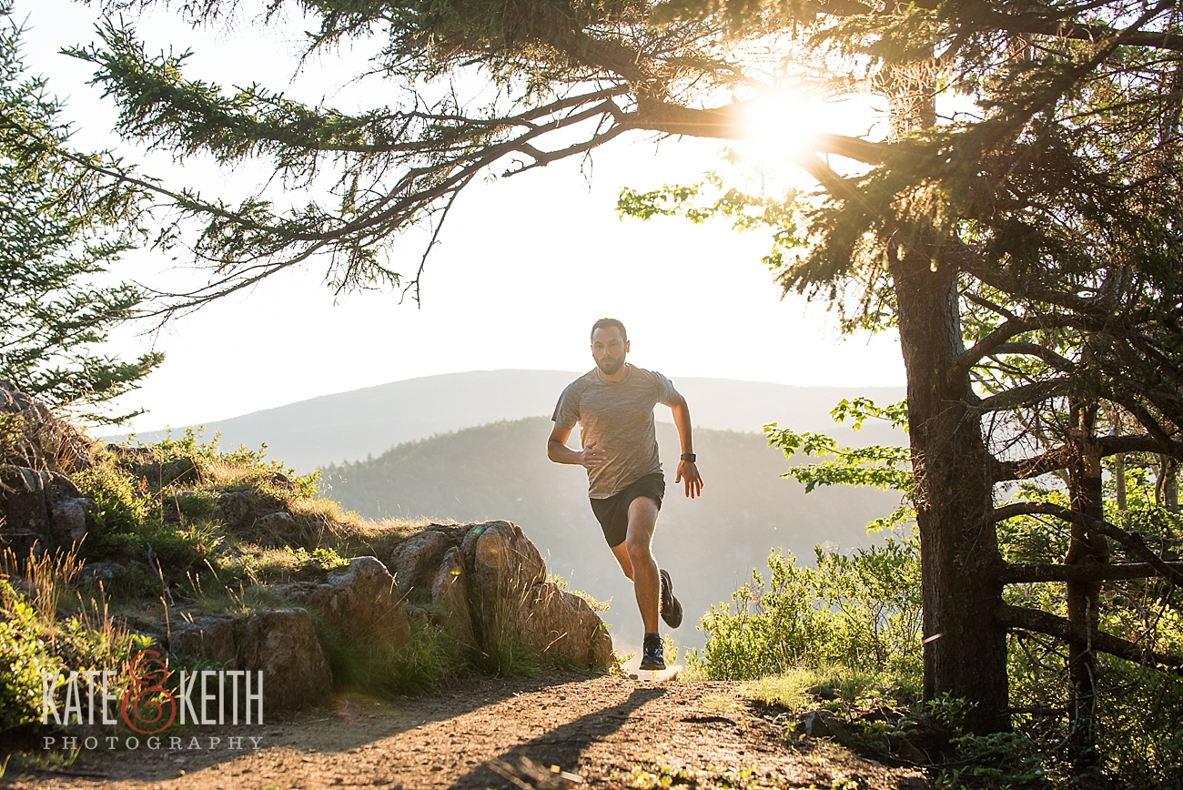 Trail running in Acadia National Park