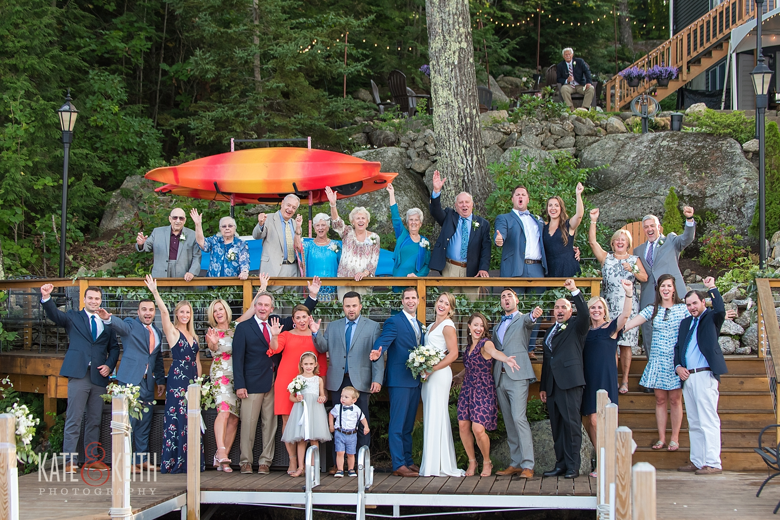 New Hampshire backyard lake wedding photos