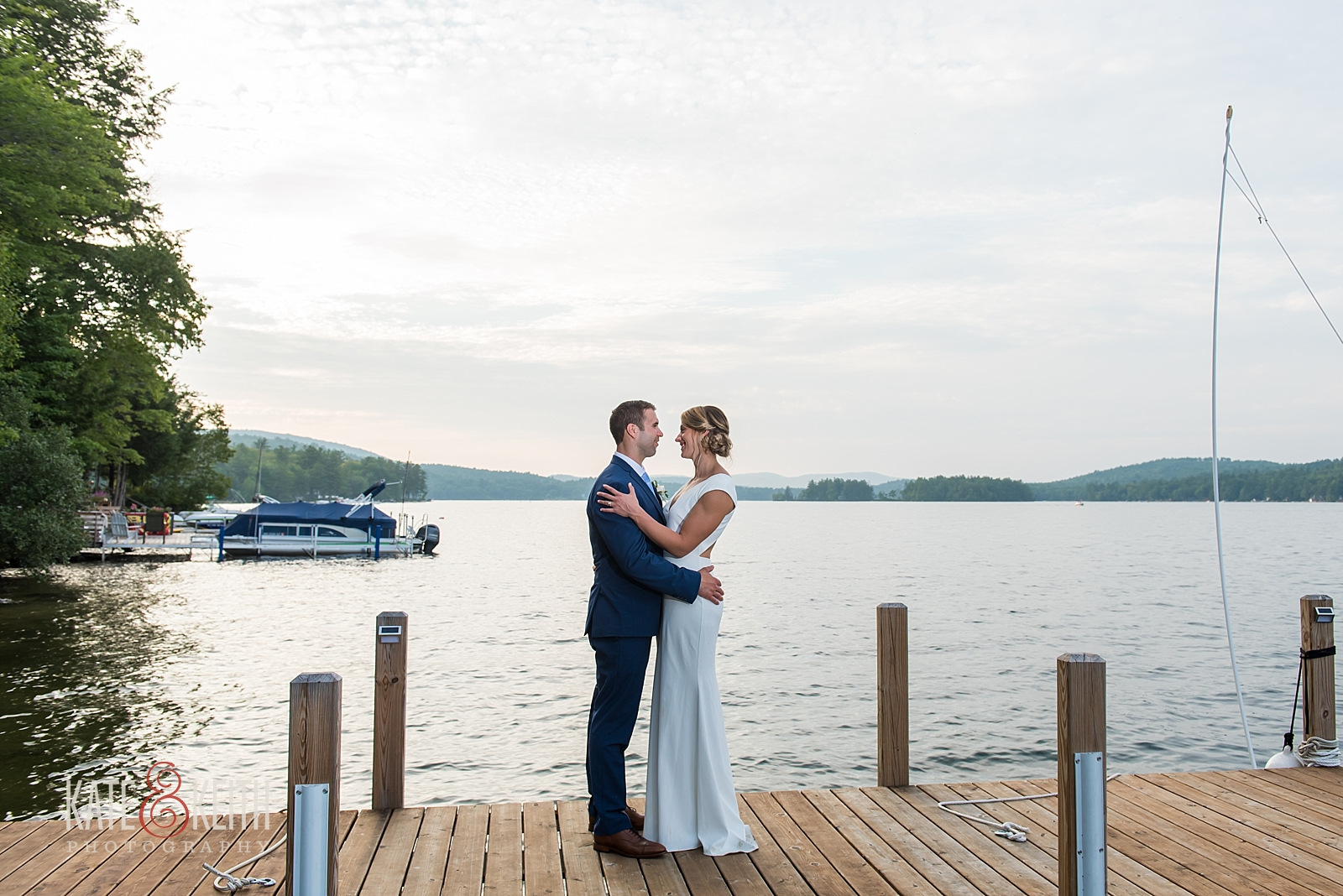 New Hampshire lake wedding portrait