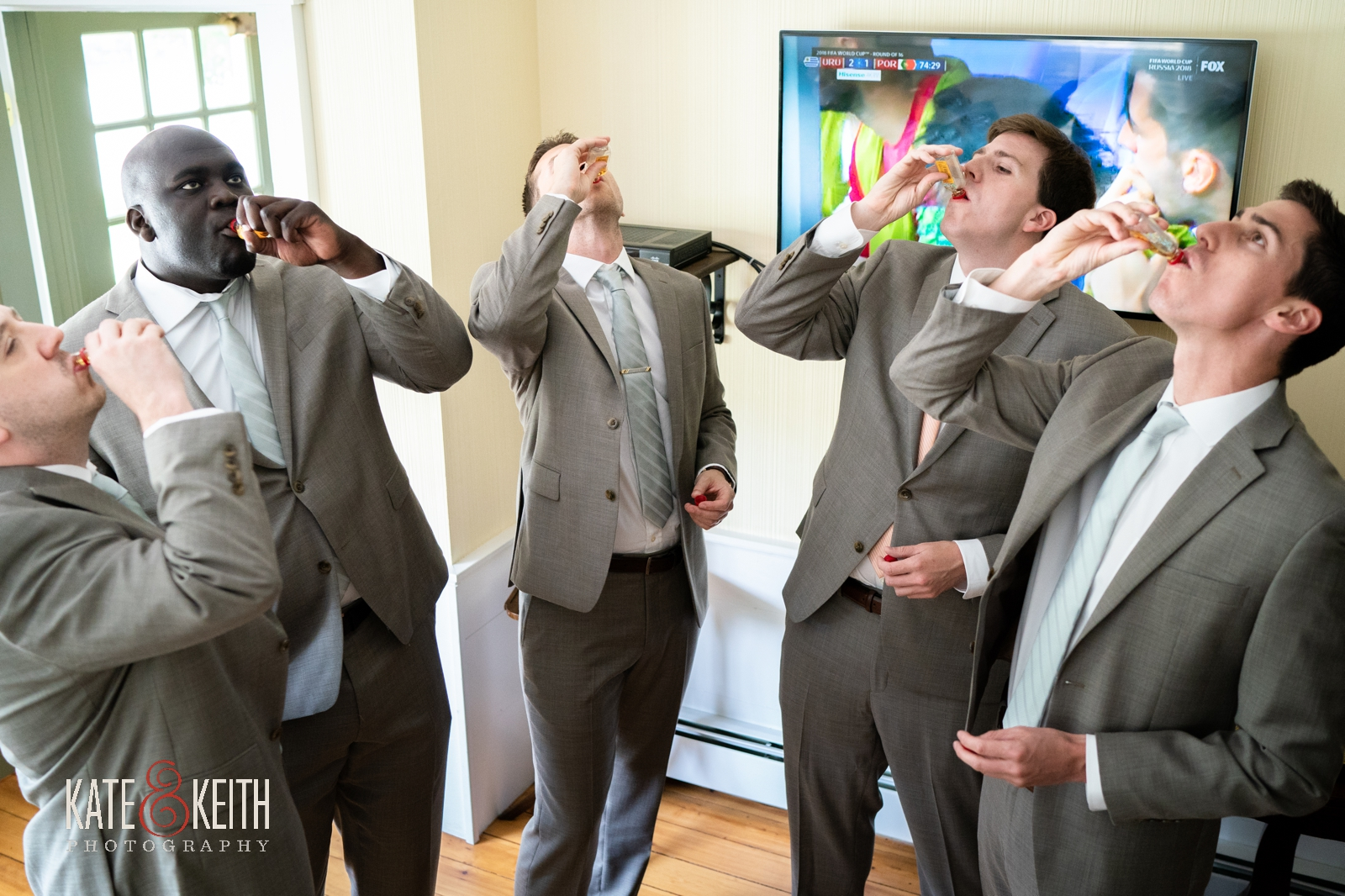 groom sharing moment with groomsmen Grafton Inn Vermont wedding