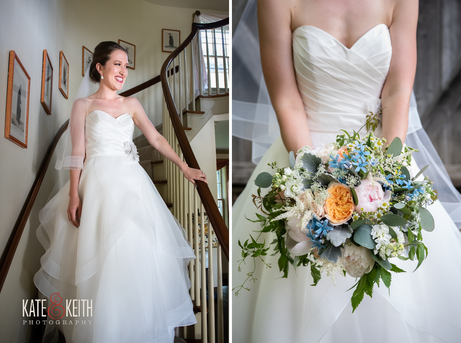 cheerful wedding bouquet, unstructured wedding flowers, garden roses and peonies