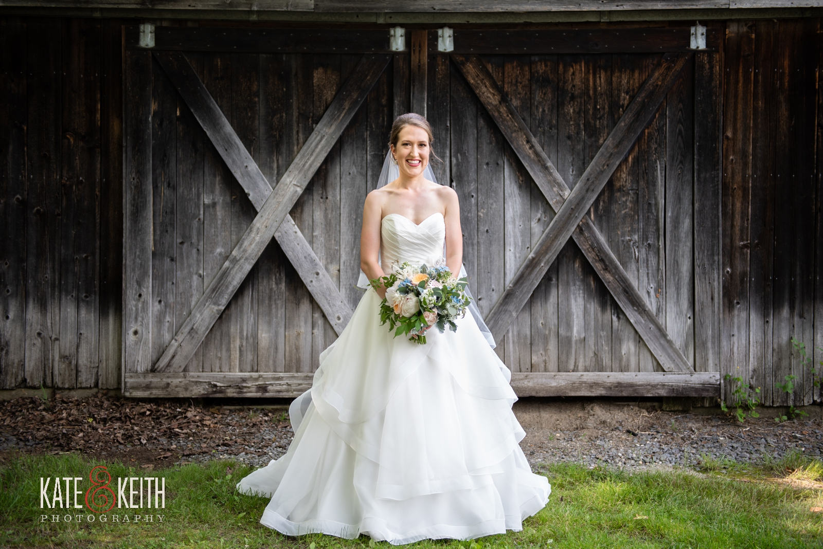 Vermont barn doors natural bridal portrait, Maggie Sottero gown, real bride