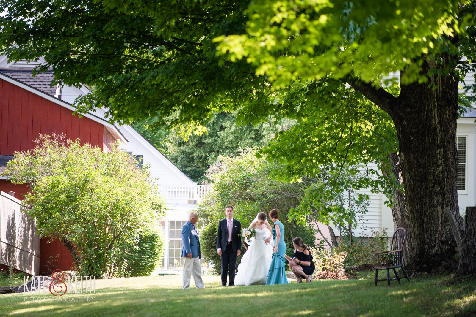 bride with family before outdoor wedding ceremony Vermont