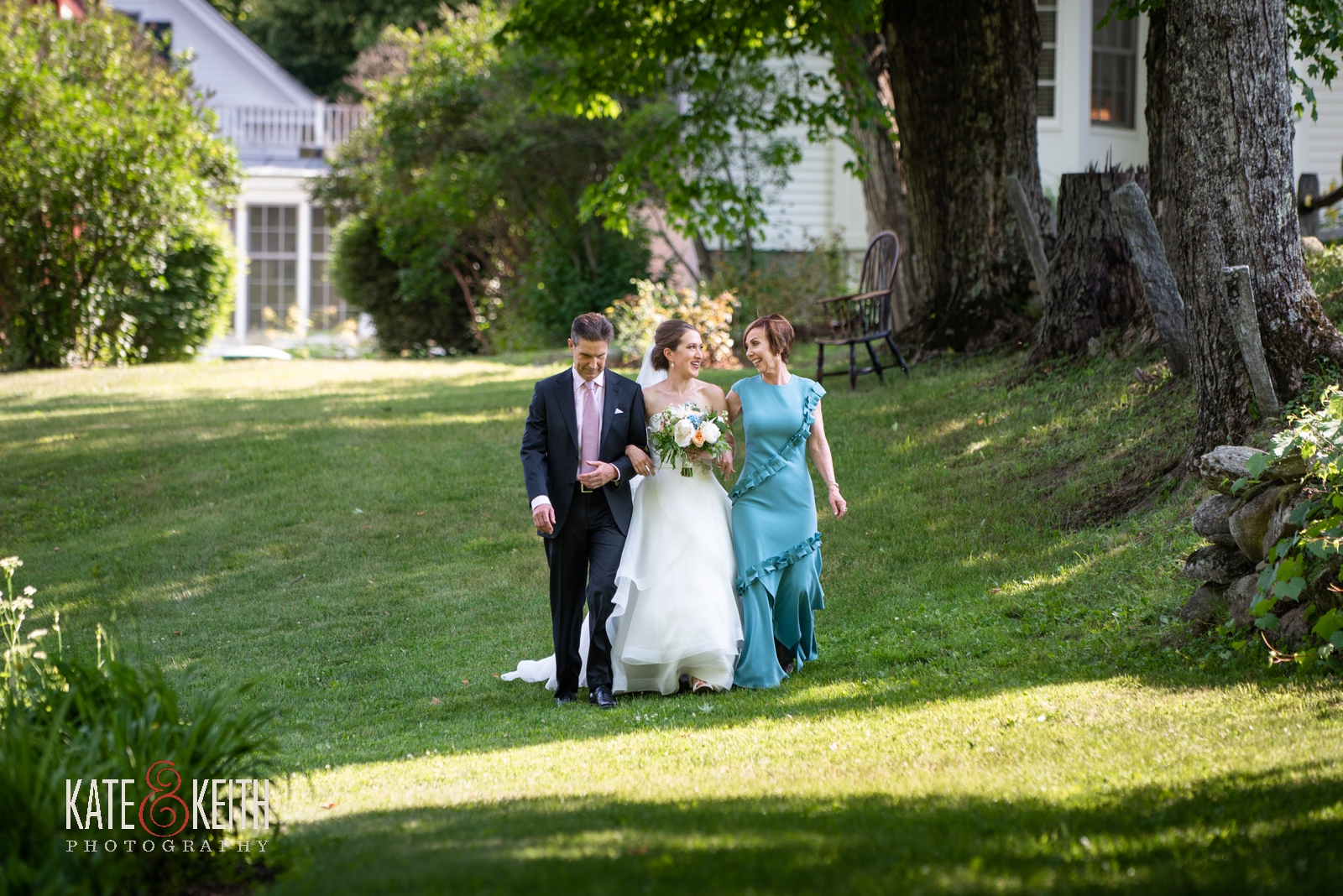bride with parents processional summer outdoor ceremony Grafton Vermont