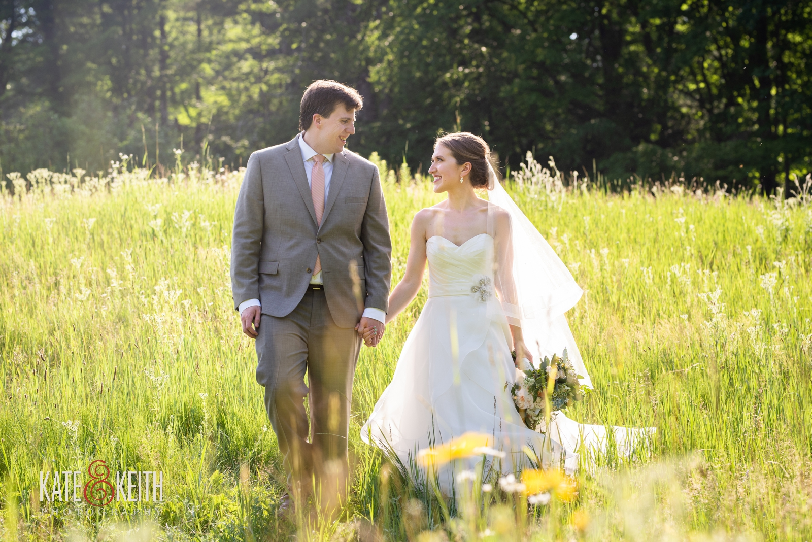 wedding photos tall grass informal outdoor June wedding Vermont
