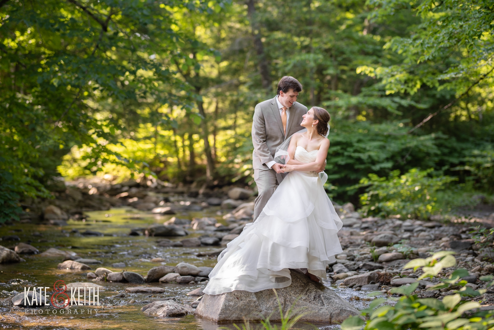 woodsy outdoor wedding portrait photos of bride and groom Grafton Inn Vermont