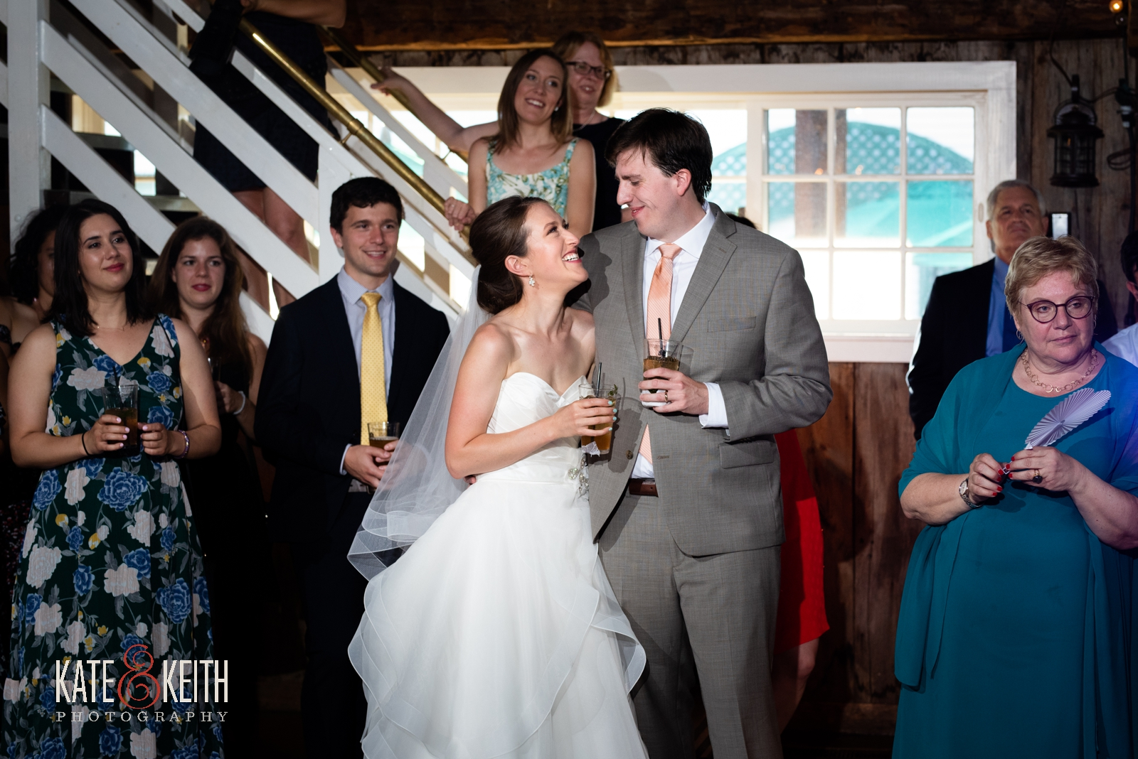 bride and groom during toasts, emotional wedding moments, Vermont