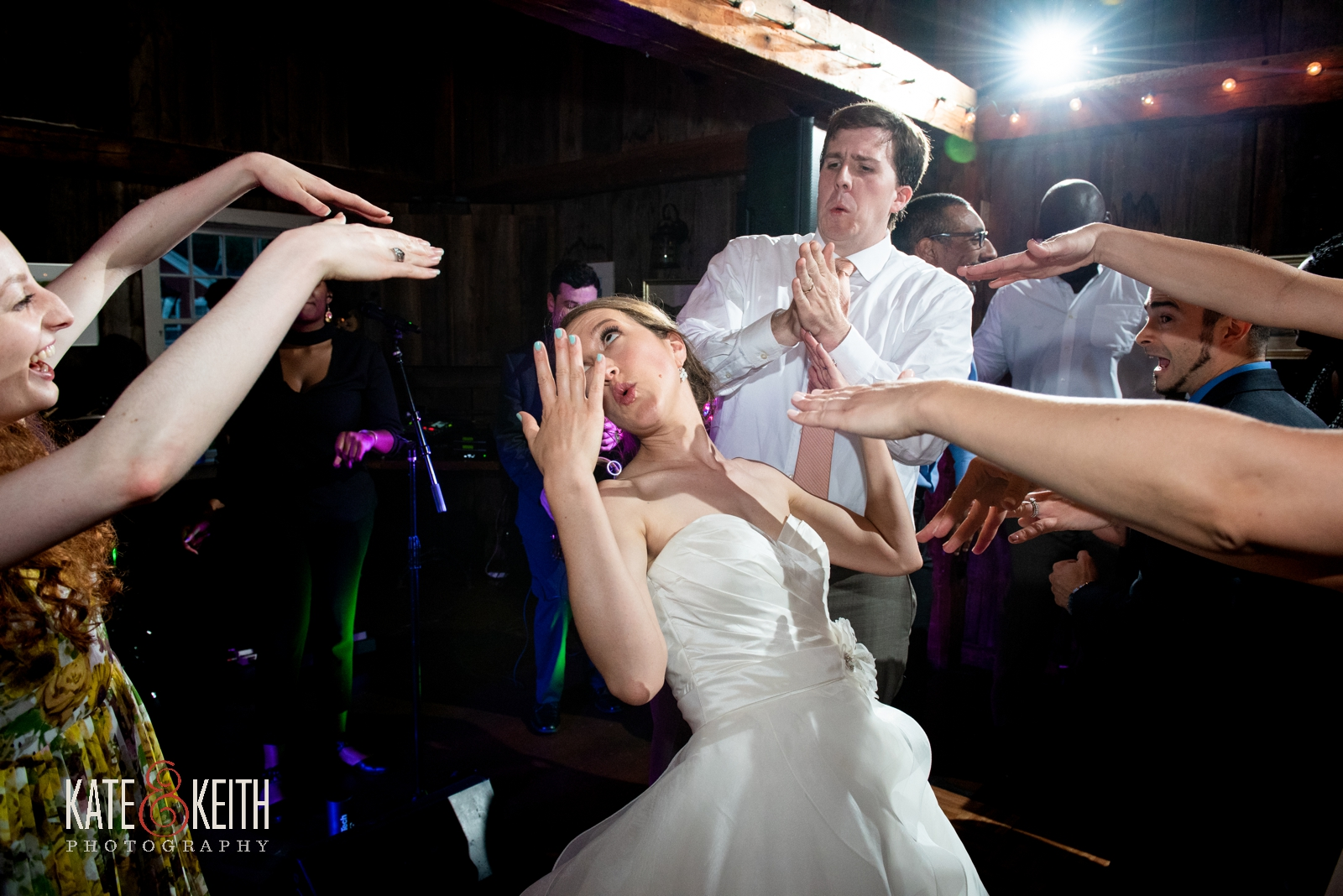 great wedding band and dancing photos of bride and groom, Grafton Vermont