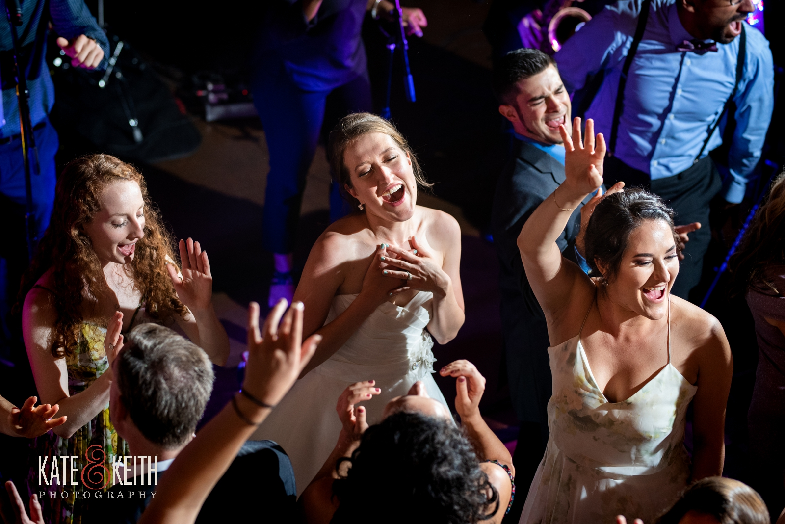 bride on dance floor with bridesmaids at Grafton Inn wedding Vermont