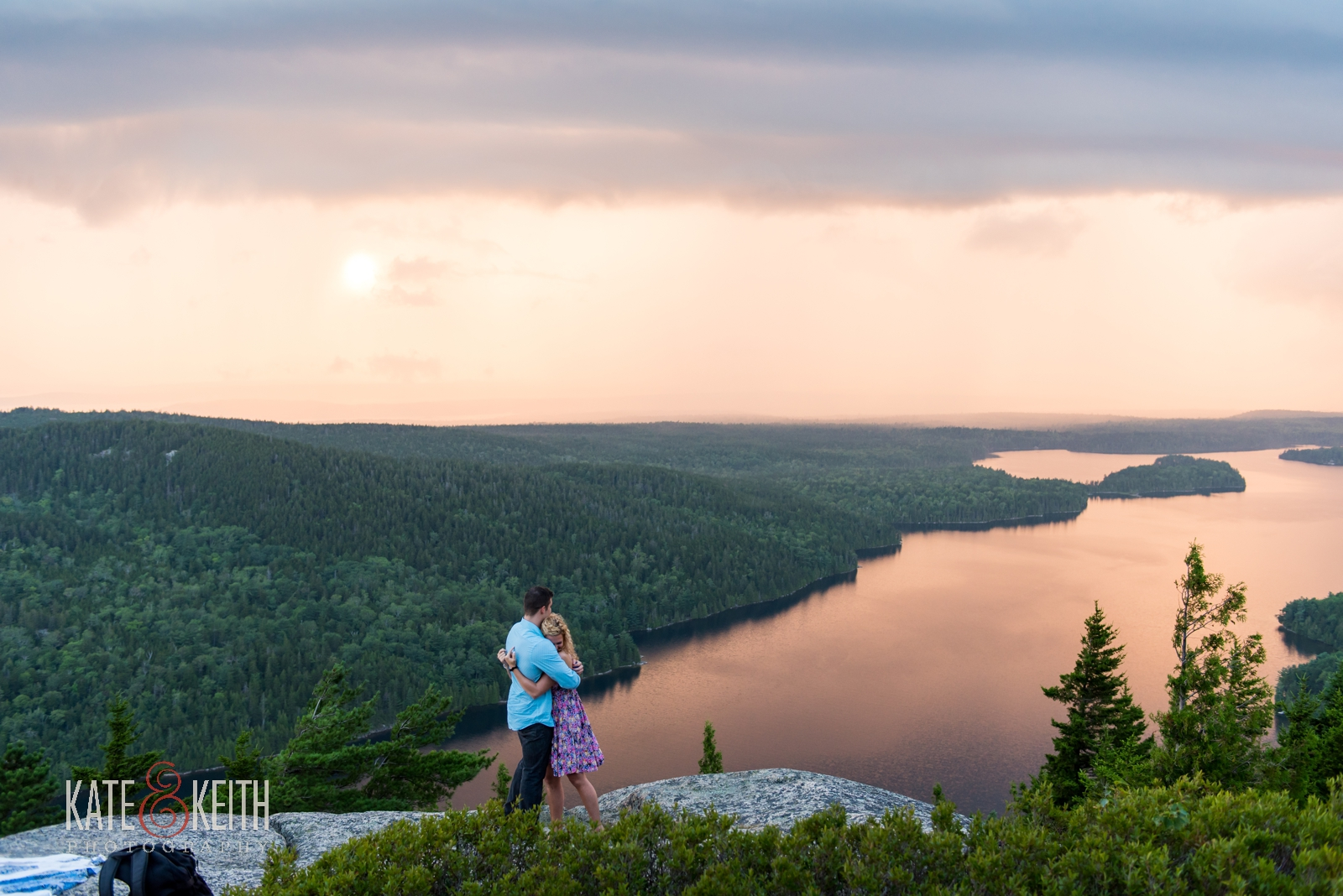 sunset engagement proposal Maine