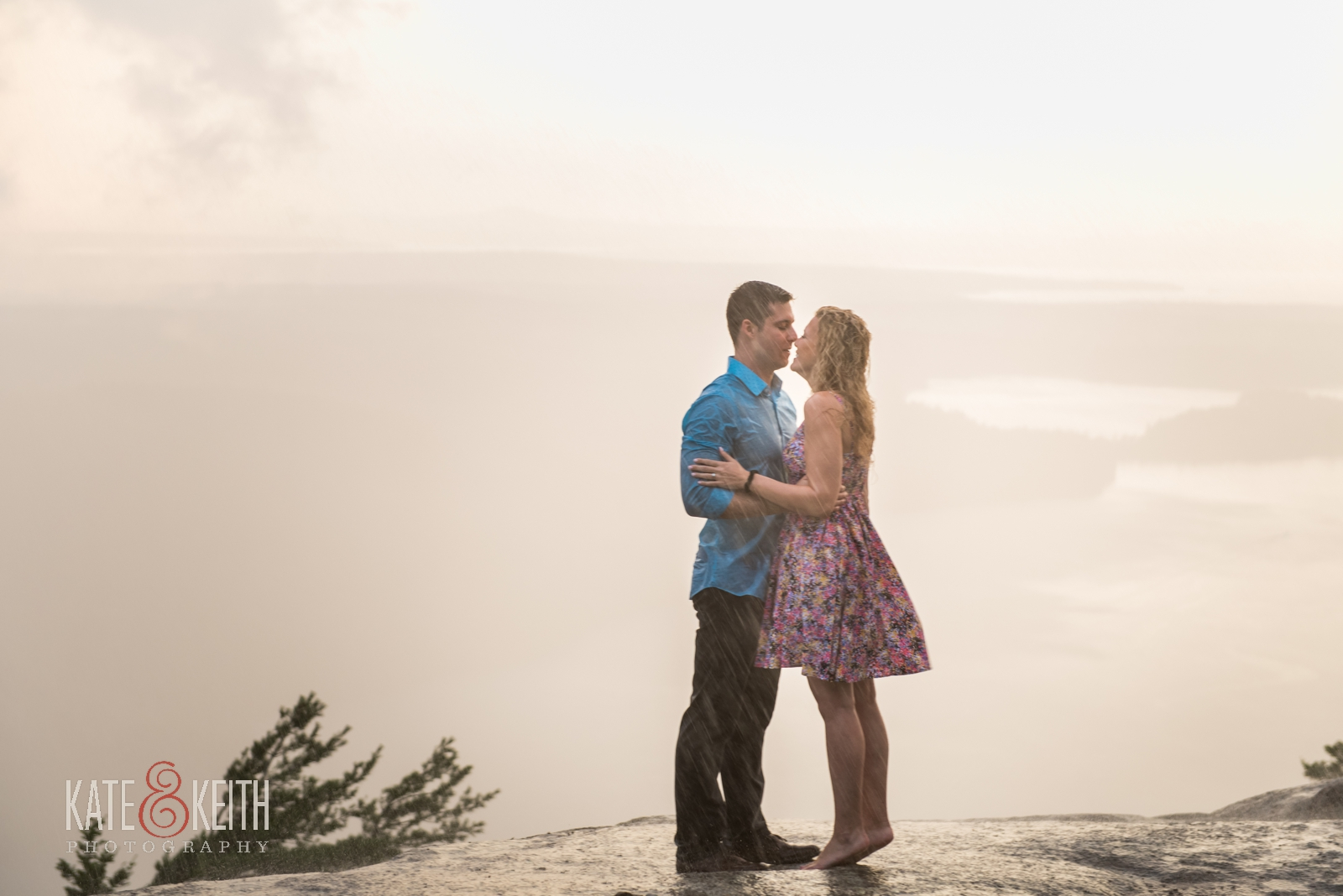 rainy engagement Acadia National Park