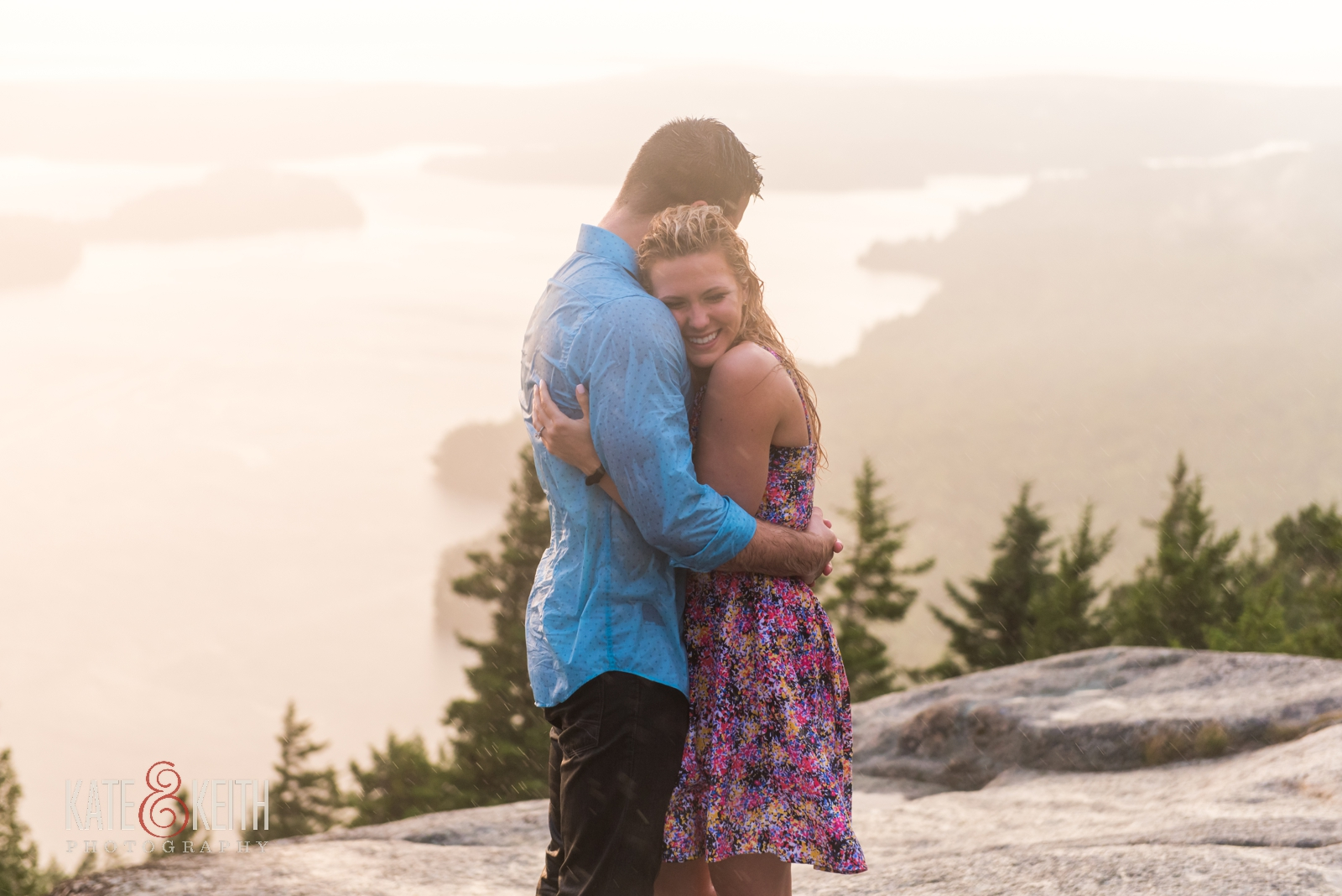 sunset proposal rain Acadia National Park