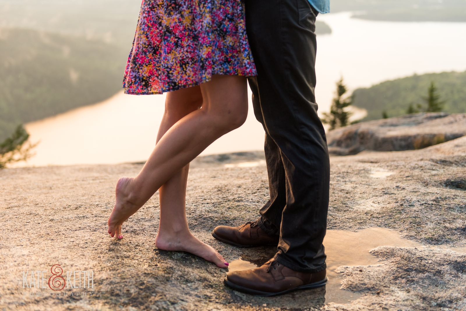 surprise sunset engagement proposal Acadia National Park