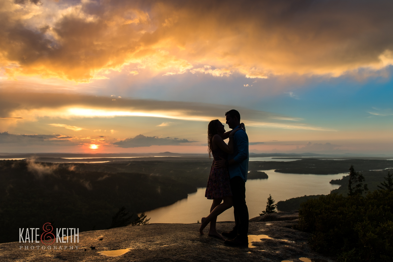 sunset proposal Acadia National Park