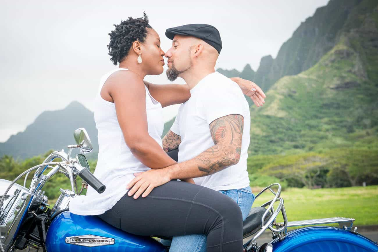 hot couple motorcycle engagement photos